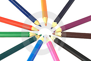 Coloured Pencils In A Circle Royalty Free Stock Images - Image: 21126069