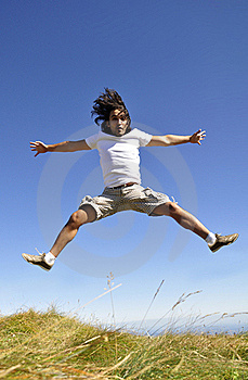 Male Jumping For Joy Royalty Free Stock Image - Image: 21128206