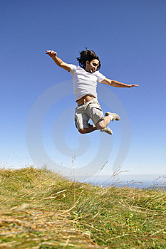 Male Jumping In The Air  Royalty Free Stock Photos - Image: 21131478