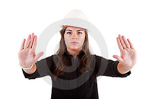 Business Woman Making Stop Sign Royalty Free Stock Photo - Image: 21151215