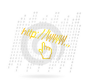 Glass Web Hand Symbol Gold Color Royalty Free Stock Photos - Image: 21163438