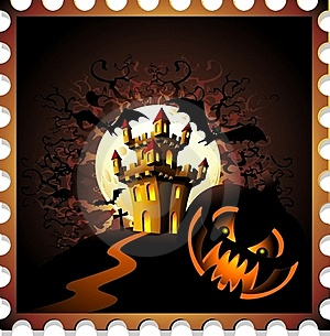 Halloween Pumpkin And Castle Stamp Background Stock Photo - Image: 21163820