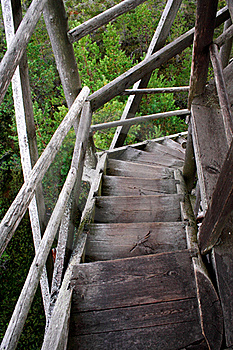 Wheathered Wood Stairs Leading Till The Ground Stock Photography - Image: 21166342
