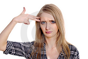 Woman Showing Suicide Gesture Stock Photos - Image: 21168313