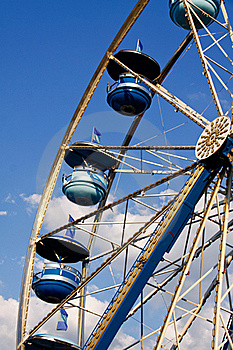 Ferris Wheel Blue Cars, Blue Sky White Clouds Royalty Free Stock Photography - Image: 21169867