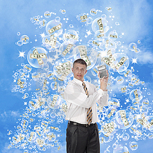 The Happy Businessman In The Pink Soap Dreams Royalty Free Stock Photo - Image: 21170445