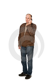 Man's Speaking By Phone Royalty Free Stock Photo - Image: 21176295