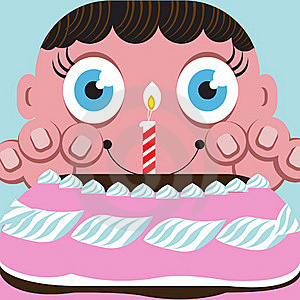 Eager Child With Birthday Cake Royalty Free Stock Images - Image: 21177709
