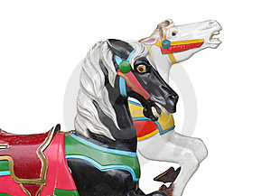 Two Horse Heads From A Carrousel Royalty Free Stock Images - Image: 21179419