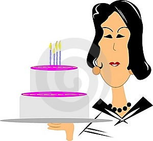 Mature Woman With Birthday Cake Royalty Free Stock Photo - Image: 21189725