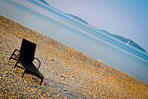 Beautiful Croatian Beach With One Sunbed Stock Images - Image: 21191044