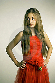 Girl In Red Dress Stock Photos - Image: 21196363