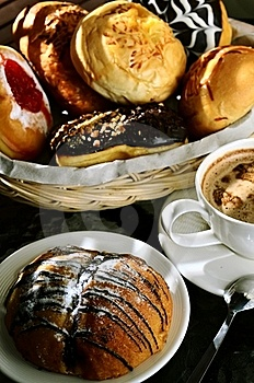 Delicious Chocolate Bread With Cappucino Stock Photography - Image: 21199572