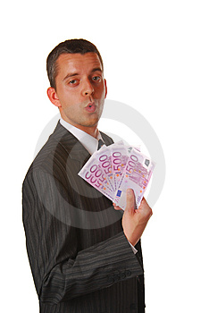 Businessman With 500 EUROS Royalty Free Stock Photo - Image: 2125165
