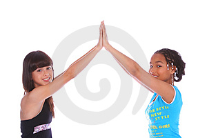 Girls High Five Close Up Stock Photos