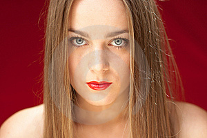 Young Woman On Red Background Stock Image - Image: 21206861