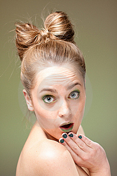 Surprised Blond Woman Royalty Free Stock Image - Image: 21207156