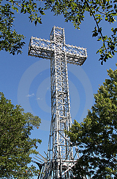 Giant Metal White Cross Against Blue Sky Royalty Free Stock Photos - Image: 21209038