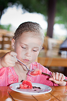 Adorable Girl Eating Watermaelon Royalty Free Stock Images - Image: 21218529
