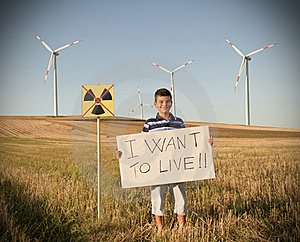 Child Against Nuclear Energy. Stock Image - Image: 21221131