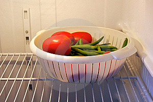 Fresh Tomatoes And Green Beans In Refrigerator Stock Photography - Image: 21225332