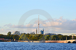 View Of The St.Petersburg. Tower And Mosque. Royalty Free Stock Photography - Image: 21232947
