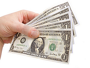 Dollar in hand Stock Photo
