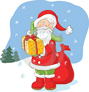 Santa Claus With Christmas Present Stock Photo - Image: 21239670