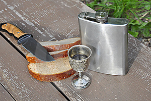 Bread Flask And Knife Stock Images - Image: 21244254
