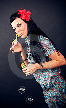 Pretty Women And Soap Bubbles Royalty Free Stock Images - Image: 21245149