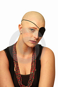 Sad Bald Girl With Eye Patch Royalty Free Stock Photos - Image: 21248228