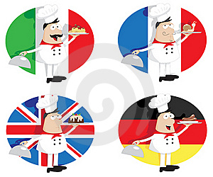 Cooks With Dishes Royalty Free Stock Image - Image: 21262226