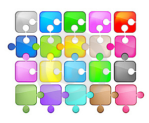 Icons Glass Shaped Puzzle Royalty Free Stock Images - Image: 21263309