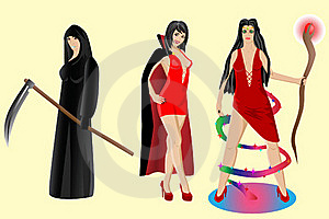 Halloween Set. Vampire, Sorceress, Grim Reaper Royalty Free Stock Photo - Image: 21266215