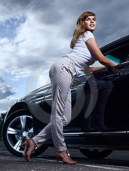Lady And A Car Stock Photography - Image: 21266292