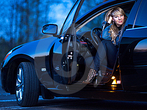 Lady In A Car Royalty Free Stock Image - Image: 21266316