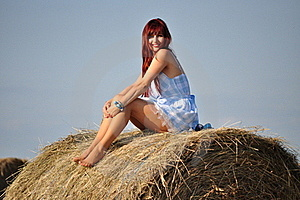 Girl Sit On Haystack Royalty Free Stock Images - Image: 21292639
