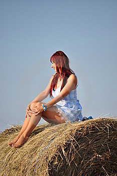 Girl Sit On Haystack Royalty Free Stock Photo - Image: 21292695