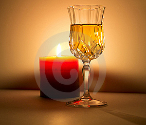 Candle And Liquor Royalty Free Stock Image - Image: 21294636