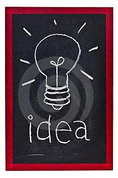 Light Bulb On Blackboard Stock Photo - Image: 21299000