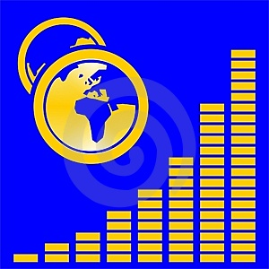 Graphic On Blue With Globes Stock Photography - Image: 2133322