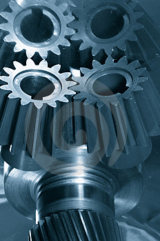 Gear-mechanism in blue Free Stock Photography