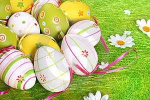 Closeup of several Easter eggs