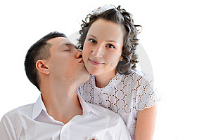 Woman With Man Near By Kissing Her Stock Images - Image: 21318294