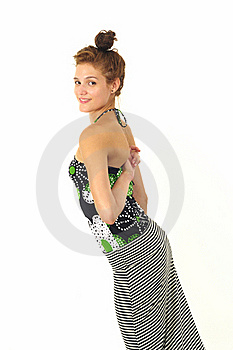 Girl Touching Her Back, Isolated Stock Photo - Image: 21319720