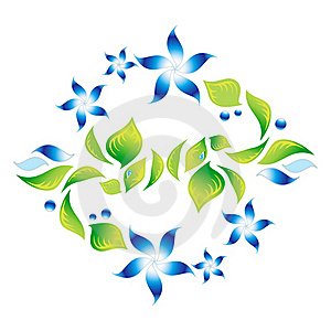 Element Of An Ornament With Blue Flowers 4 Stock Photography - Image: 21322772