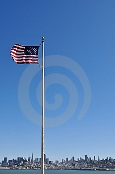 United States Flag Against San Francisco Skyline Royalty Free Stock Photo - Image: 21327035