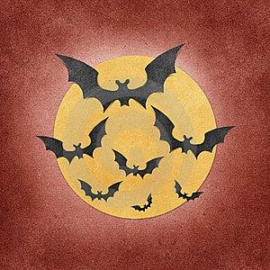 Halloween Bat And Moon Recycled Papercraft Stock Photos - Image: 21331923
