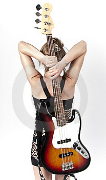 Girl On Rock Guitar Stock Image - Image: 21332551