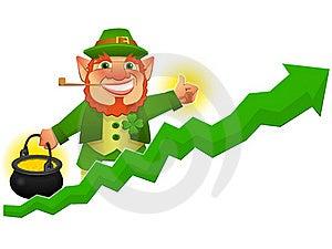 Lucky Leprechaun With Business Prosperity Arrow Royalty Free Stock Photo - Image: 21332975